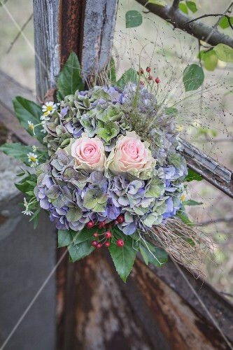 Bridal bouquet in old greenhouse
