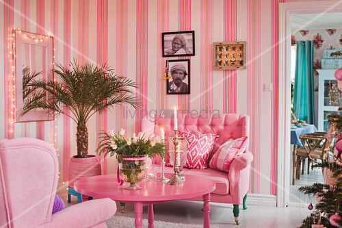 Good Striped Wallpaper In Kitsch Living Room Decorated Entirely In Pink And Hot  Pink