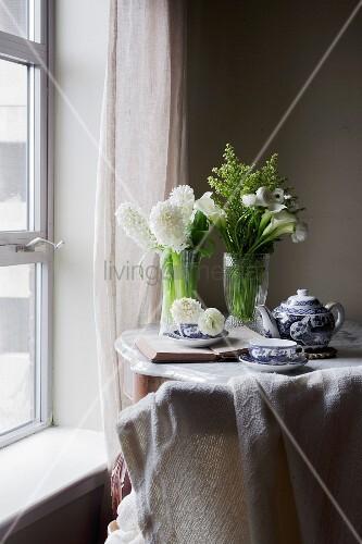 Breakfast tea on the table
