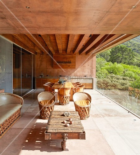 Modern loggia of architect-designed house in shades of brown
