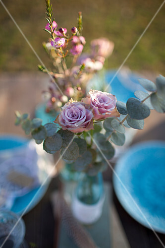 Posy of roses and eucalyptus sprigs