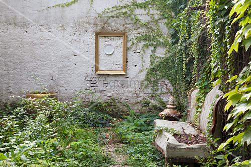 Altes Sofa im Innenhof mit wildem Wein an der Gartenmauer