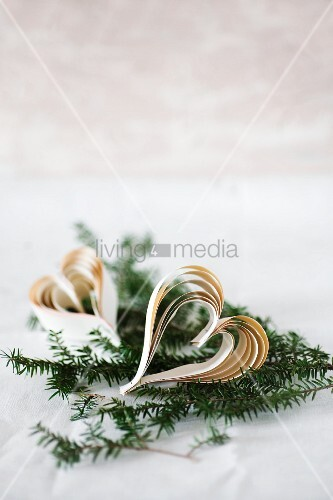 Hearts made from strips of paper on fir sprig