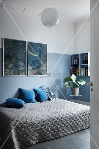 Blue and grey bedroom with two-tone walls