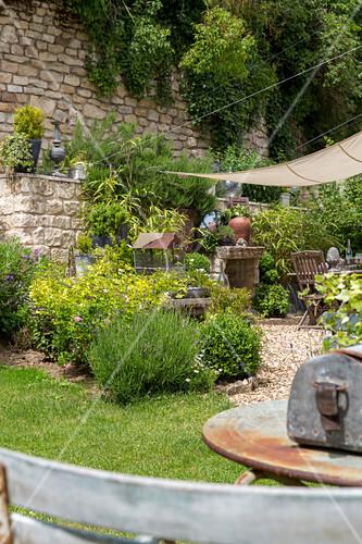 Vintage items in summery garden