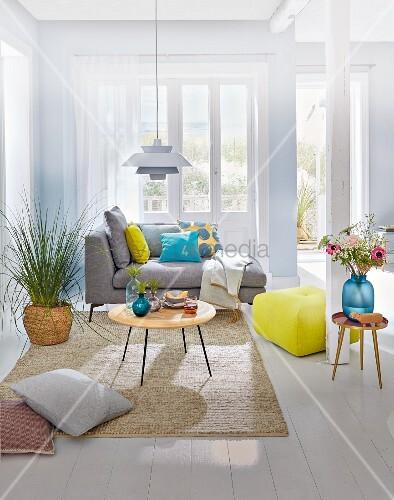 Helles Wohnzimmer mit Couch und Zimmerpflanze