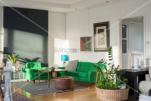 Green sofa set in light-flooded living room