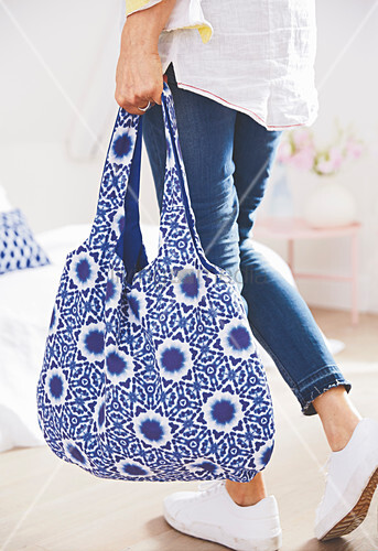 Blue and white, reversible, batik shopping bag
