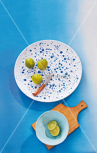 A homemade wooden tray sprinkled with a blue-and-white pattern
