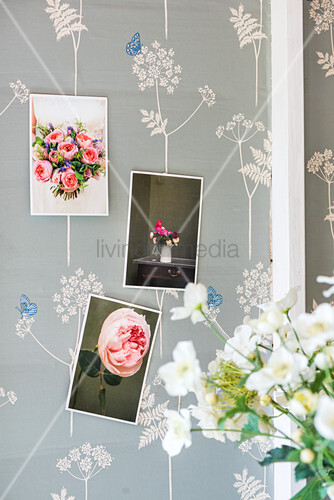 Postcards with floral motifs on patterned wallpaper