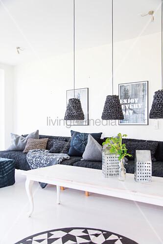 Sensational Pendant Lamps Above White Coffee Table Buy Image Download Free Architecture Designs Lukepmadebymaigaardcom
