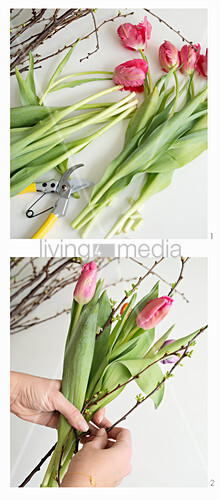 Steps for making a spring bouquet of tulips and twigs
