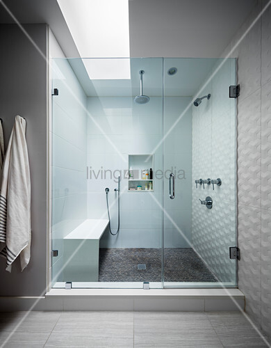 Walk-in shower with skylight and glass door