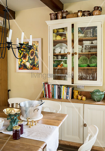 Two-part dresser and dining table in rustic kitchen