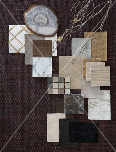 Mood board of various material samples in natural shades