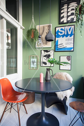 Classic furniture in conservator with green wall