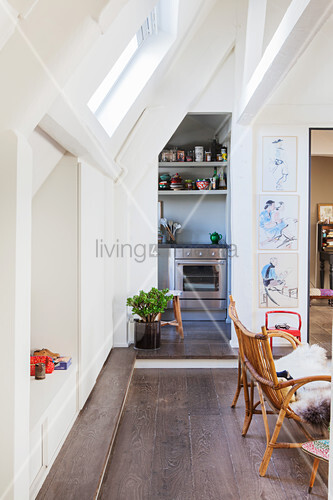 Open-plan Bohemian-style apartment in attic