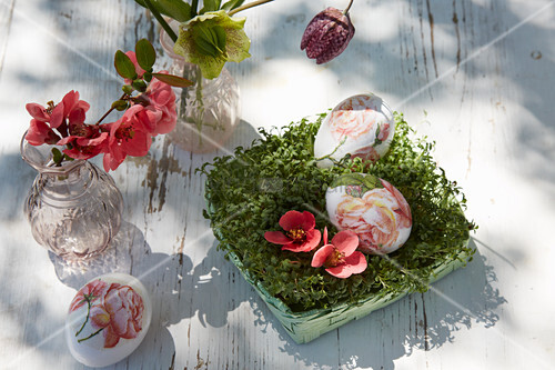 Ostereier und Blüten in Kresse-Nest