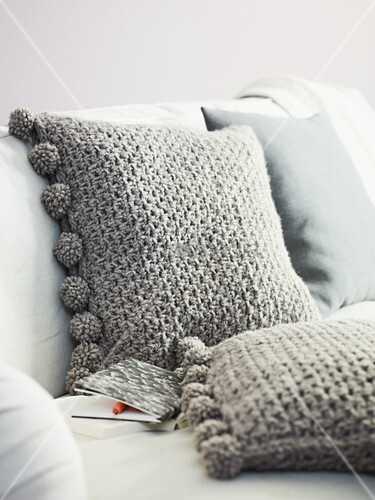 Homemade crocheted cushions