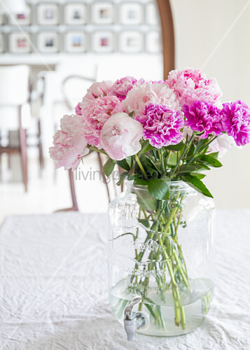 Peonies and carnations in glass vase