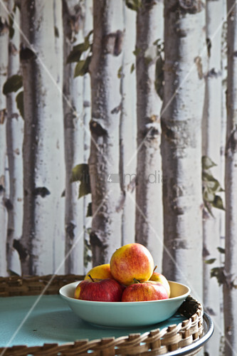 Fresh apples in bowl in front of wallpaper with pattern of bitch trunks