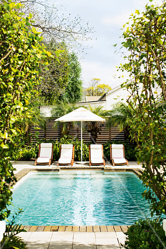 Loungers and parasol next to swimming pool