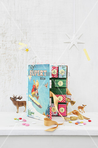 Hand-crafted Advent calendar inside book