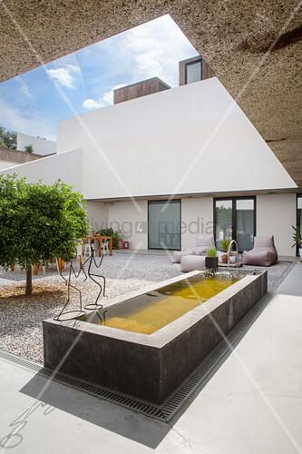Pond in elegant courtyard