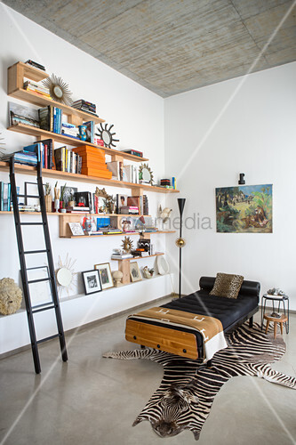 Wall-mounted shelves with library ladder next to couch on zebra-skin rug in bright interior with concrete ceiling and concrete floor