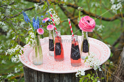 Labelled bottles of pop and flowers on tray in garden