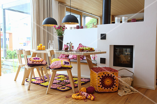 Crocheted textiles in dining room in modern country-house style