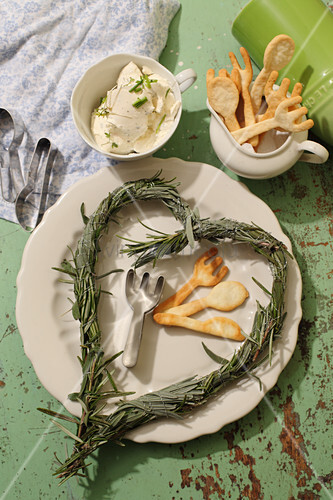 Rosemary and sage heart and cutlery-shaped biscuits