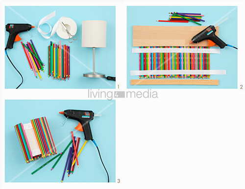 Instructions for making lampshade from coloured pencils