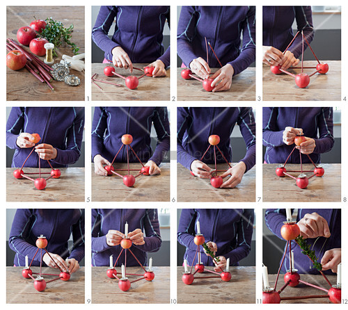Instructions for making a pyramid Advent arrangement
