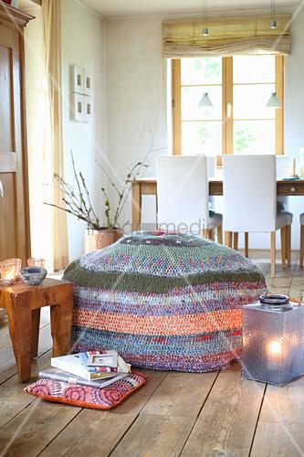 Hand-made crocheted pouffe