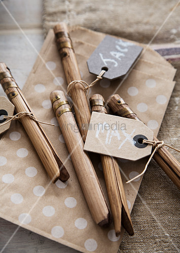 Name tags on bamboo pegs