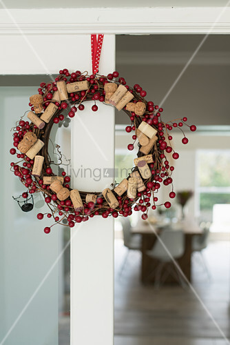 Wreath of red berries and corks