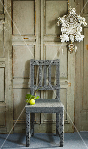 Chair with grey knitted cover