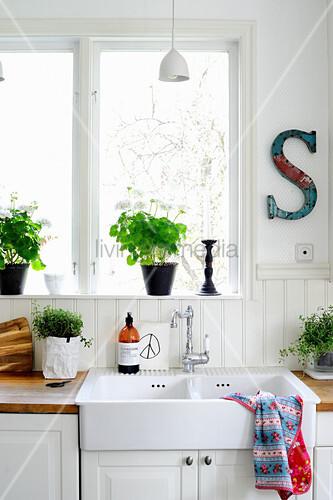 Spülstein unter dem Fenster mit Pflanzen