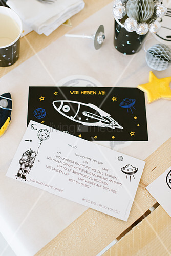 Invitation card for space-themed birthday party