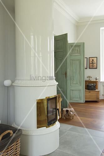 White tiled stove in living room