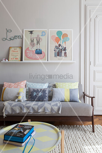 Modern, pastel accessories in pale grey nursery