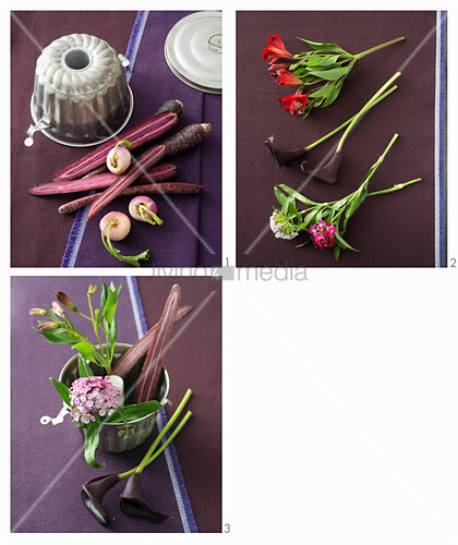 Instructions for making autumnal bouquet of vegetables and flowers in cake tin