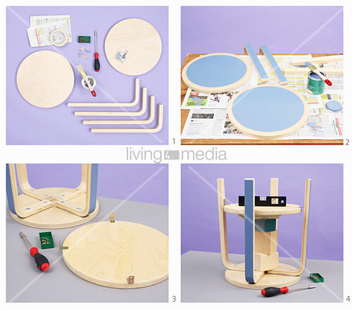 Instructions for making side table from assembly kit for stool