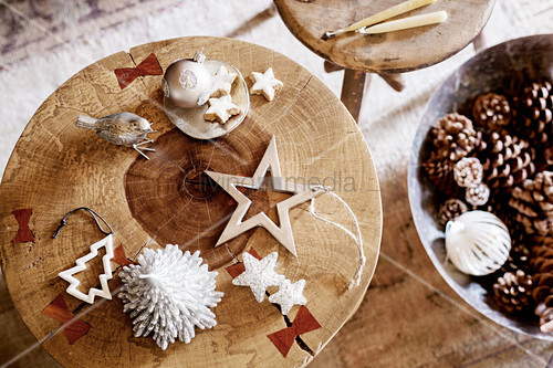 Christmas decorations on rustic wooden stool