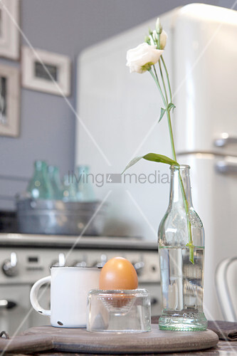Egg cup made from cut-off wine bottle bottom