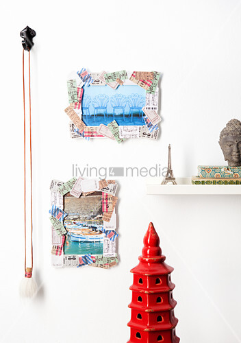 Picture frames decorated with concert tickets