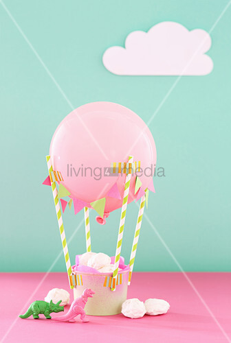 DIY hot-air balloon with sweets in basket