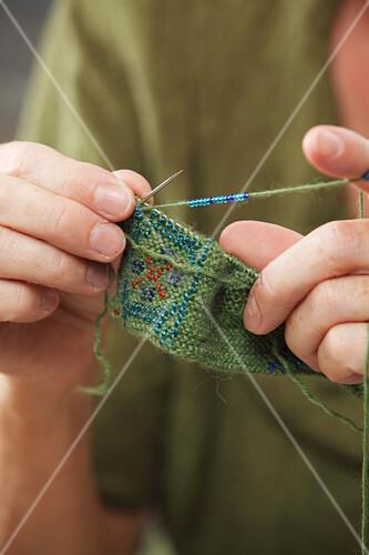 Knitting beaded wrist warmers