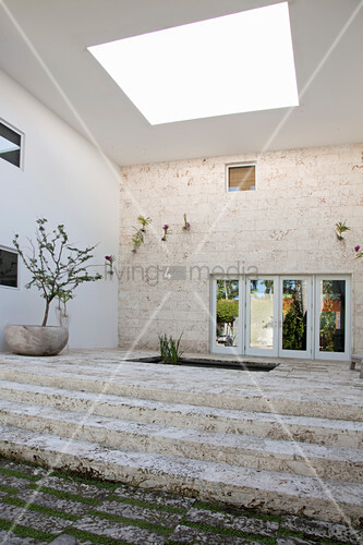 High-ceilinged entrance area with steps and skylight